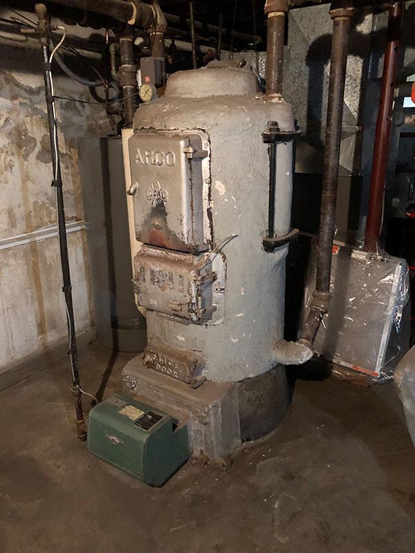 Photo of an old residential boiler in Corunna, Ontario
