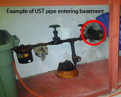 Photo example of a Underground Storage Tank (UST) pipe entering basement