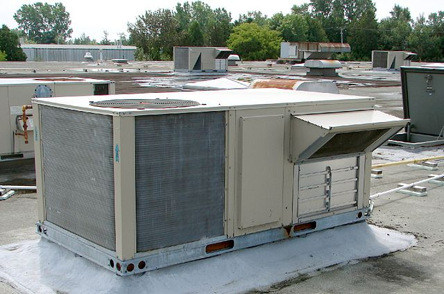 Photo of an HVAC Rooftop Unit in Tiverton