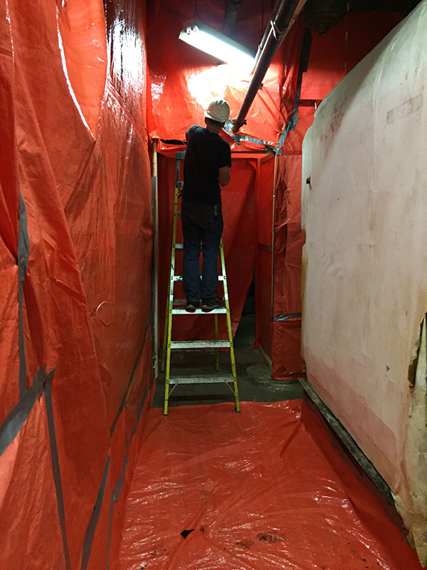 Set up for commercial asbestos removal abatement in Kingston, Ontario