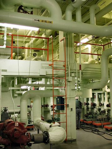 Mechanical room in a large office building in Angus