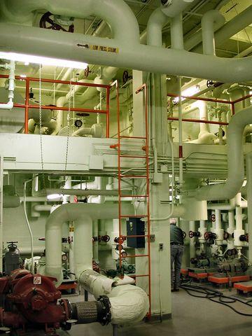 Mechanical room in a large office building in Jordan